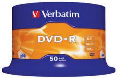 Диск DVD-R Verbatim 4.7Gb 16x Cake Box (50шт) 43548