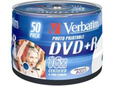 Диск DVD+R Verbatim 4.7Gb 16x Cake Box InkJet Printable (50шт) 43512